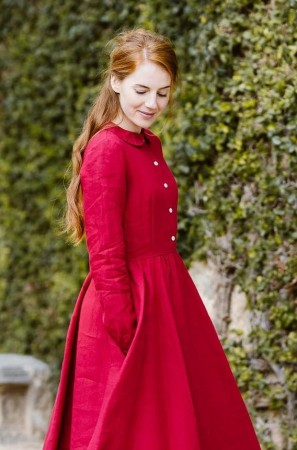 Classic dress, Long sleeve, Poppy Red