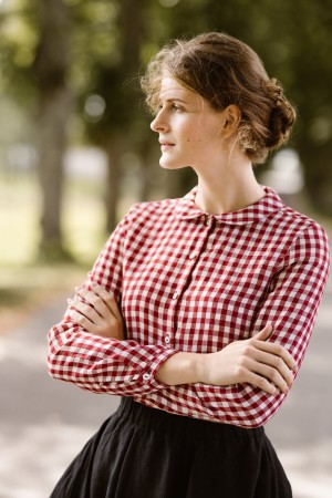 Peter Pan Collar Shirt, Hygge Red