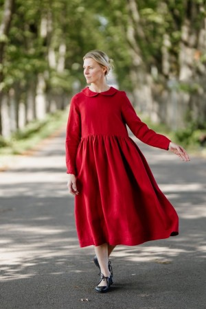 Laelia Dress, Long sleeves, Poppy Red
